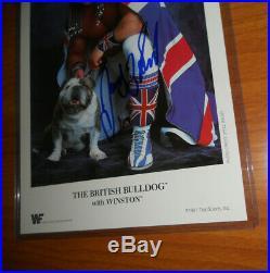 Vintage 1991 WWF British Bulldog Davey Boy Smith Autographed Promo Photo wwe