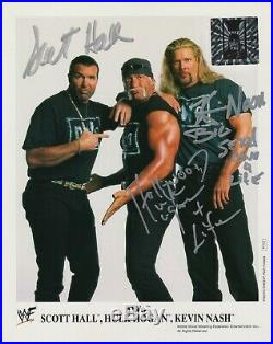 WWE nWo Original P-743 Signed by Hulk Hogan, Scott Hall & Nash 8x10 Promo Photo