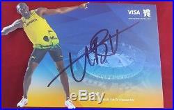 Worlds Fastest Man Usain Bolt Hand Signed 8X6 Promo Card Todd Mueller COA