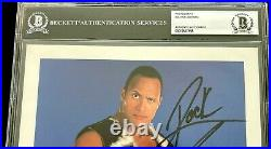 Wwe The Rock P-686 Hand Signed 8x10 Promo Photo With Beckett Encapsulated Coa