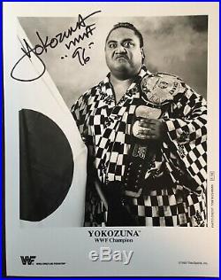Yokozuna (died 2000) Signed WWF Original B/W 8x10 Belt Promo Photo P-136 WWE HOF